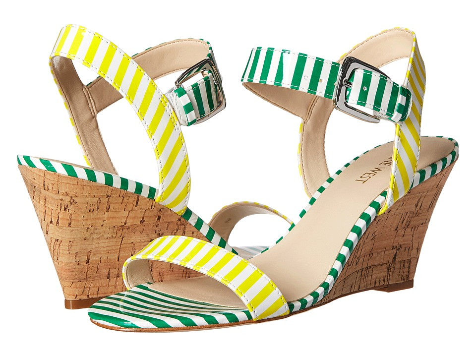 Nine West - Kiani3 (White/Yellow/White/Green Synthetic) Women's Wedge Shoes
