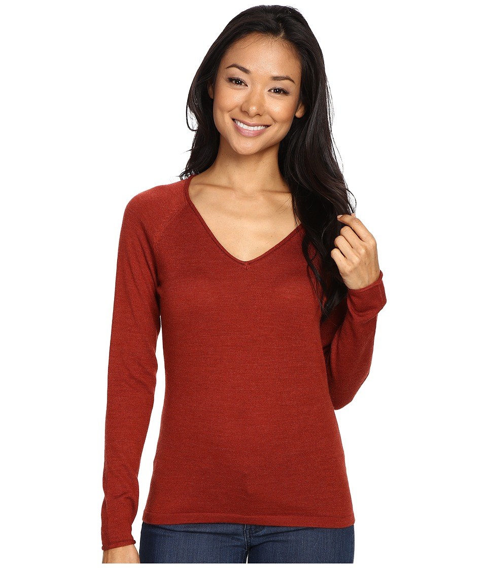 Smartwool - Granite Falls V-Neck Top (Moab Rust Heather) Women's Long Sleeve Pullover
