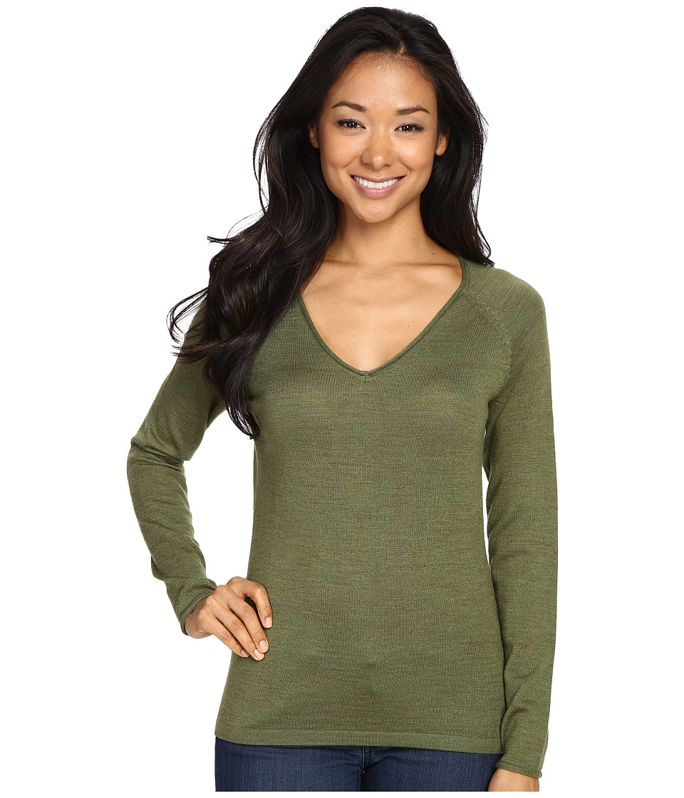 Smartwool - Granite Falls V-Neck Top (Light Loden Heather) Women's Long Sleeve Pullover