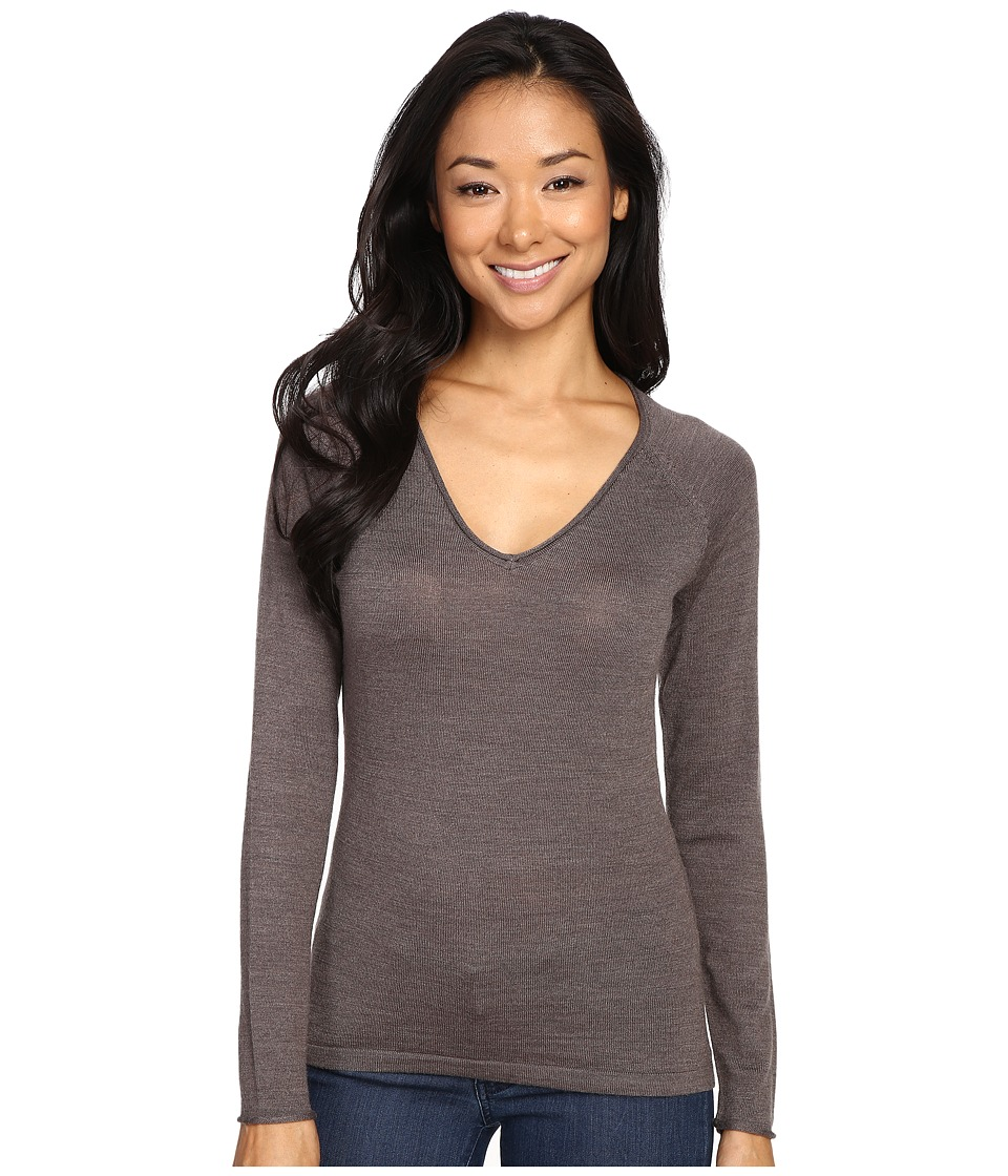 Smartwool - Granite Falls V-Neck Top (Taupe Heather) Women's Long Sleeve Pullover