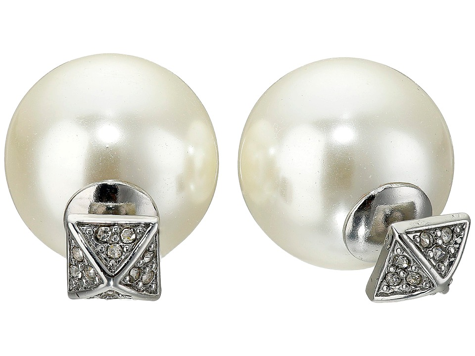 Rebecca Minkoff - Pyramid Pearl Back Earrings (Antique Rhodium) Earring