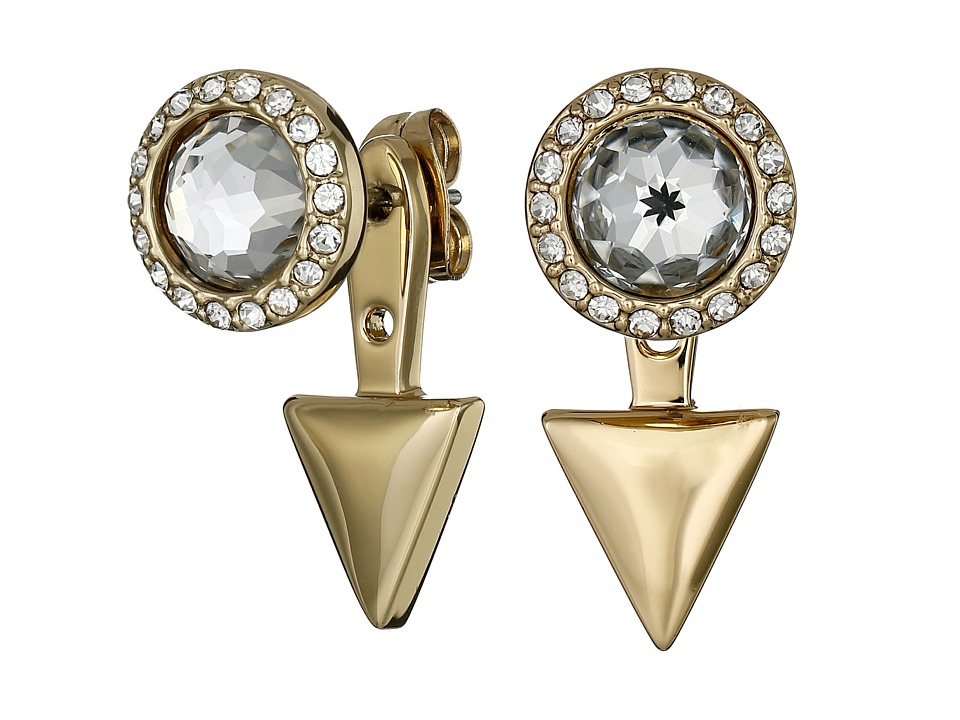 Rebecca Minkoff - Inverted Crystal Front Back Earrings (Gold) Earring