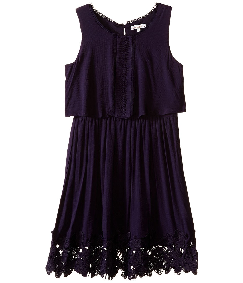 Ella Moss Girl - Kali Dress w/ Crochet Trim (Big Kids) (Navy) Girl's Dress
