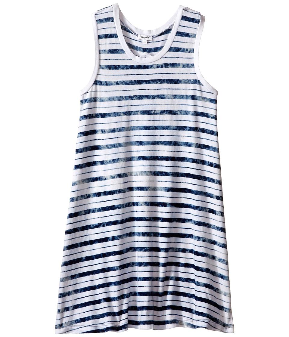 Splendid Littles - Indigo Tie-Dye Yarn Dye Dress (Big Kids) (Stripe) Girl's Dress