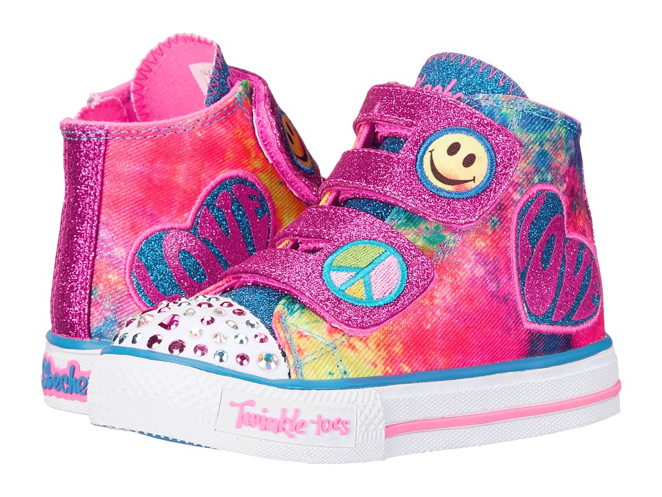 SKECHERS KIDS - Shuffles - 10644N Lights (Toddler/Little Kid) (Blue/Hot Pink/Multi) Girl's Shoes