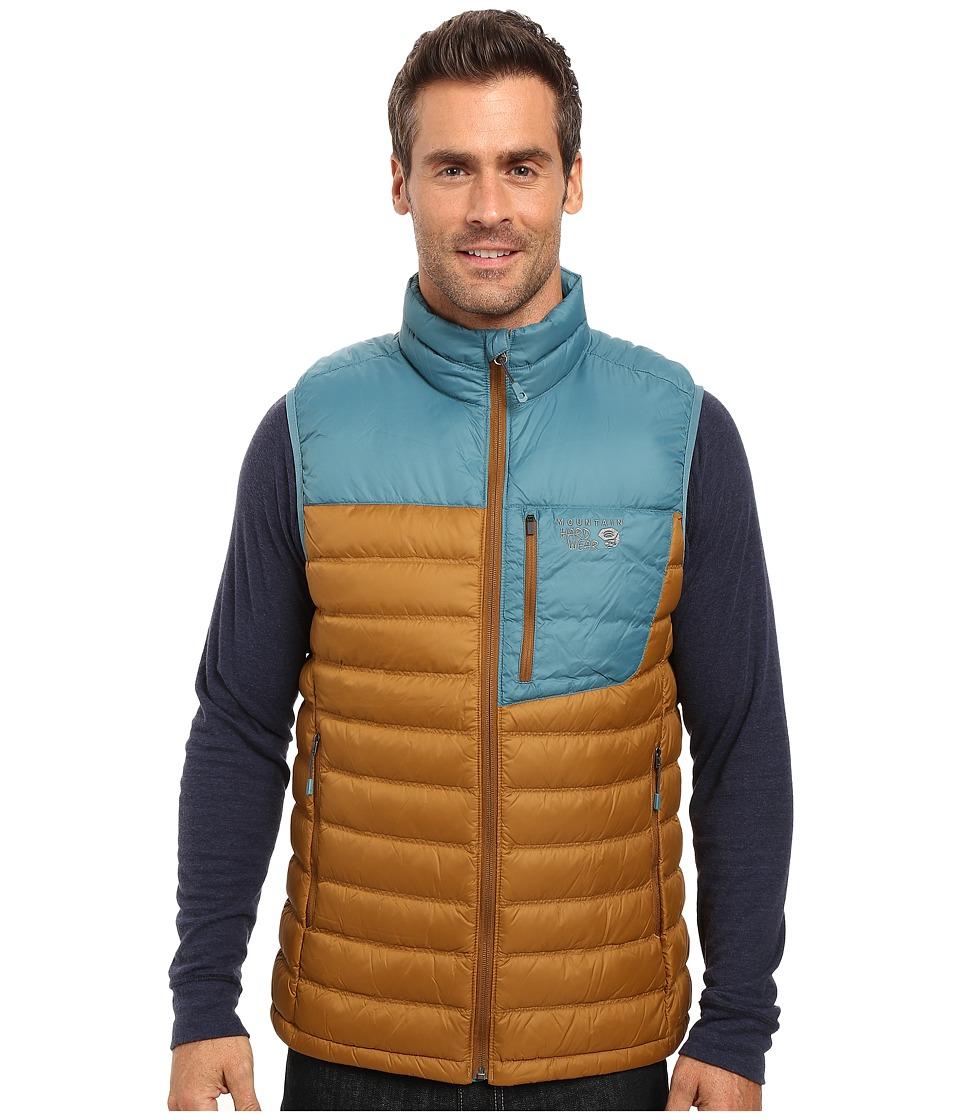 Mountain Hardwear - Dynotherm Down Vest (Golden Brown/Cloudburst) Men's Coat