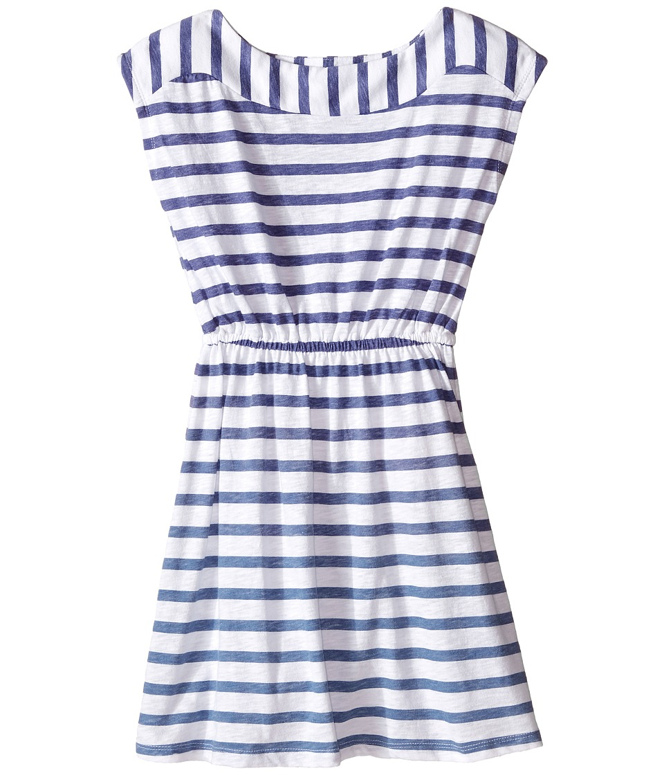 Splendid Littles - Striped Printed Dress (Big Kids) (Blue) Girl's Dress