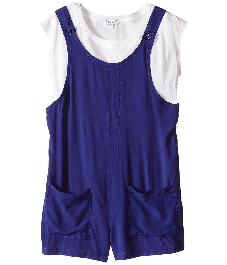 Splendid Littles - Relaxed Romper with Tee (Big Kids) (Royal Blue) Girl's Jumpsuit & Rompers One Piece