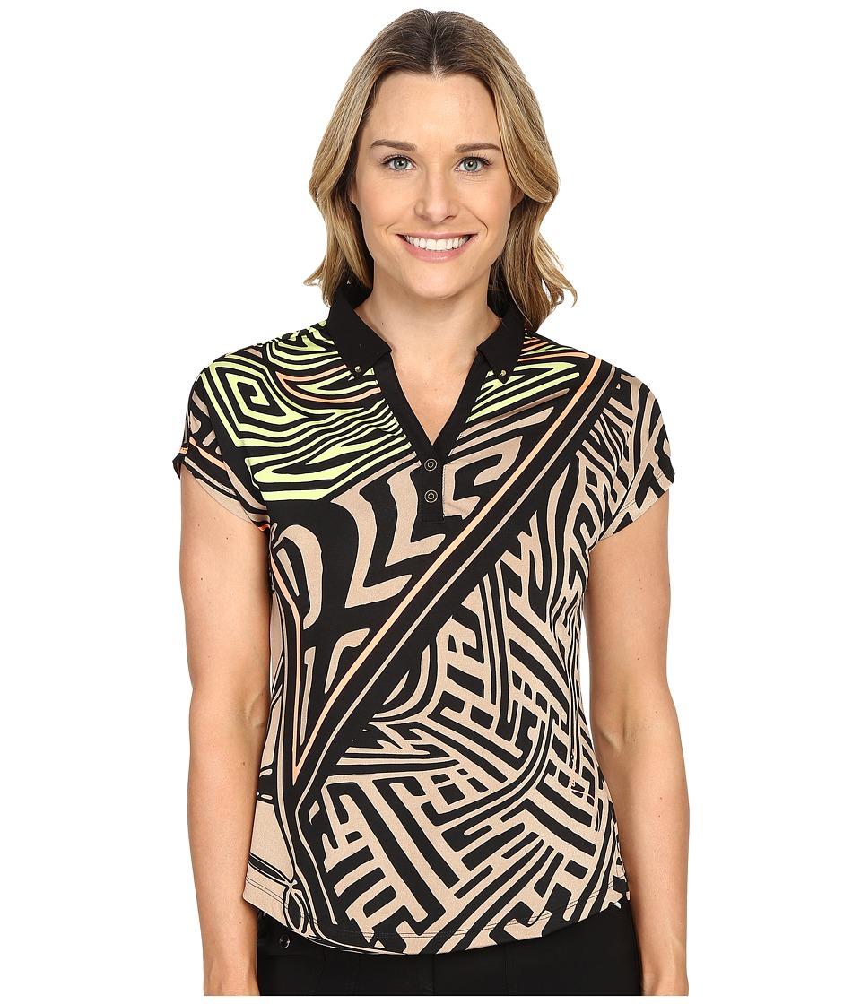 Jamie Sadock - Mad Scientist Print Short Sleeve Top (Toffee) Women's Blouse