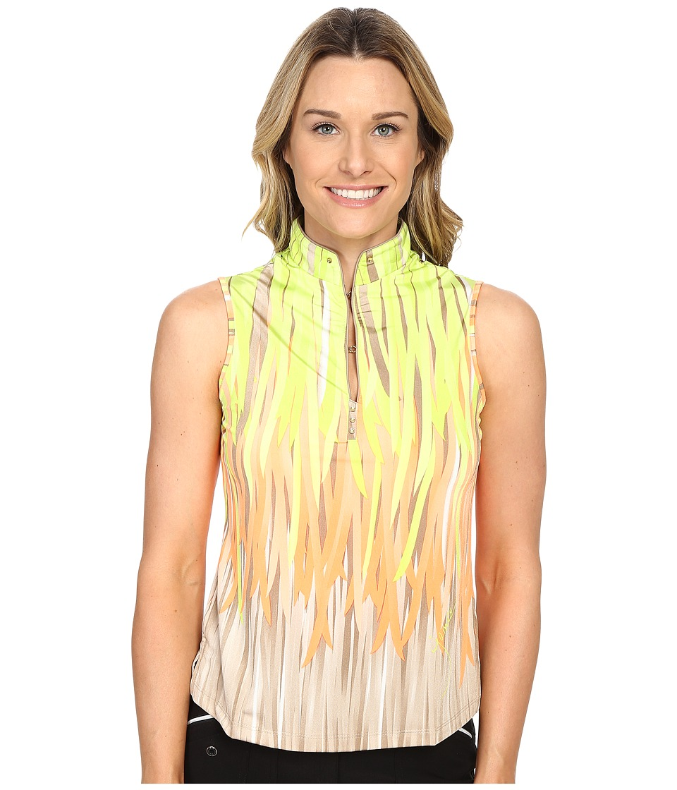 Jamie Sadock - Fringe Print Sleeveless Top (Lime Crime) Women's Sleeveless