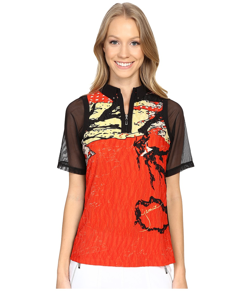 Jamie Sadock - Shanghai Print Crunchy Short Sleeve Top (Firework Red) Women's Clothing