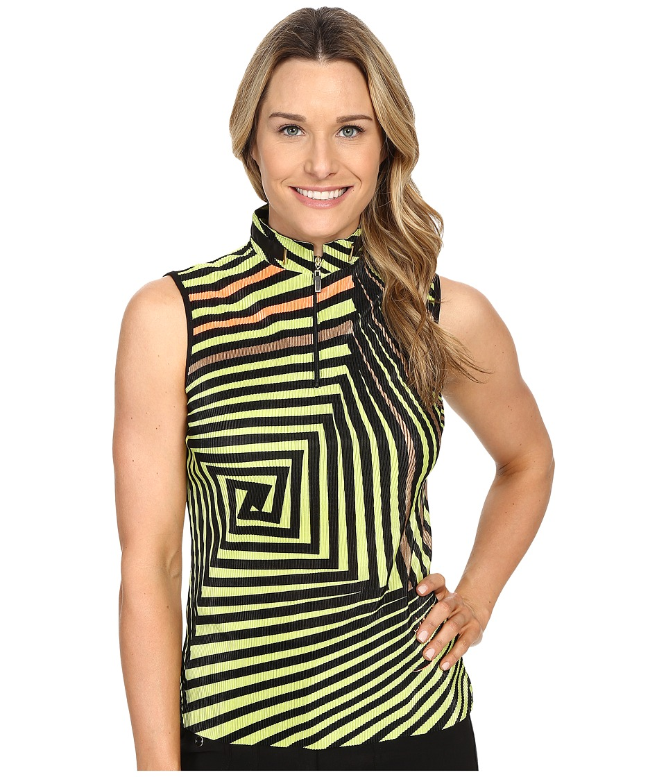Jamie Sadock - Twister Print Crunchy Sleeveless Top (Lime Crime) Women's Sleeveless