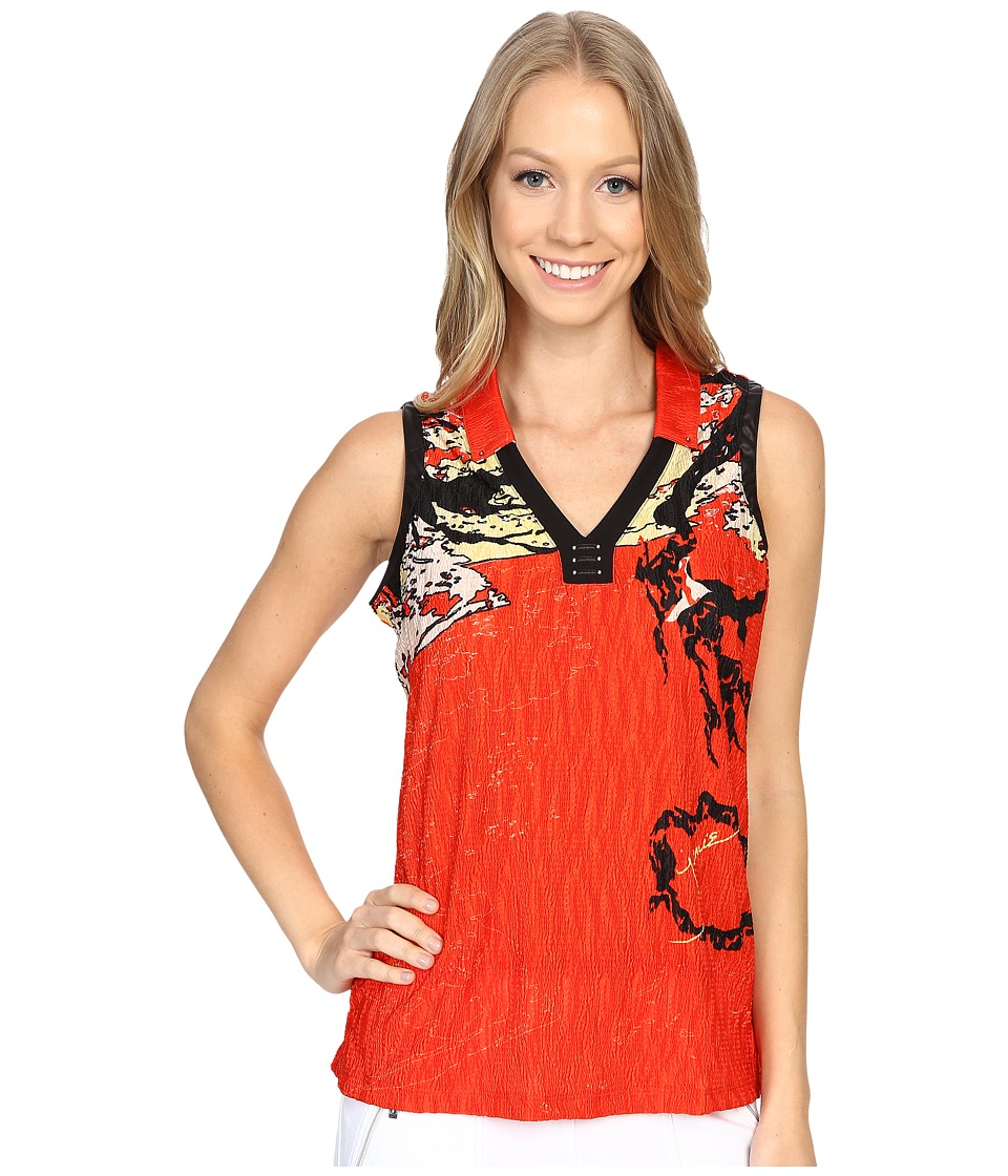 Jamie Sadock - Shanghai Print Crunchy Sleeveless Top (Firework Red) Women's Sleeveless