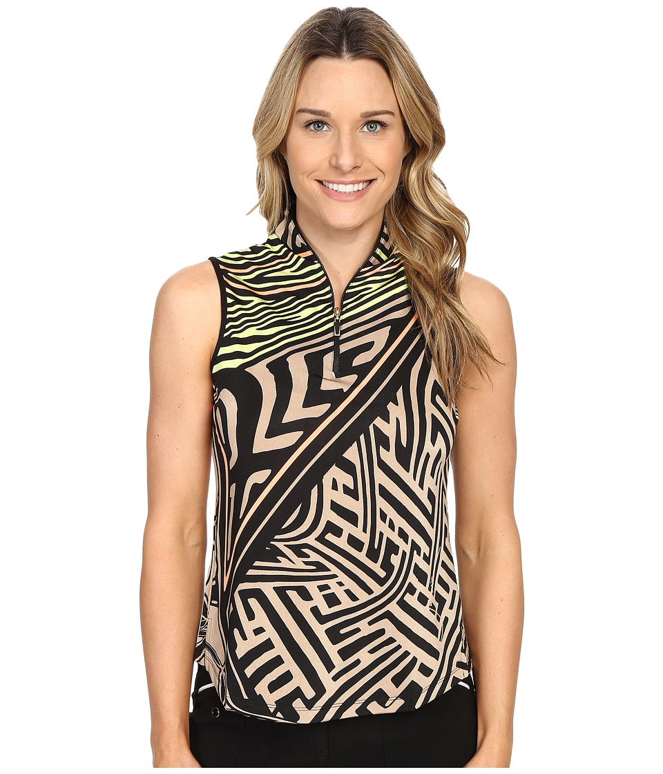 Jamie Sadock - Mad Scientist Print Sleeveless Top (Toffee) Women's Blouse