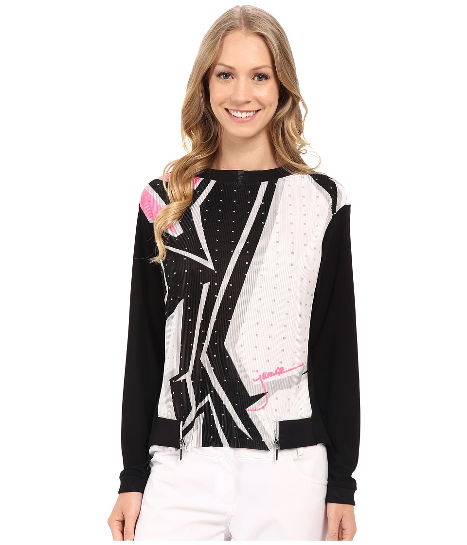 Jamie Sadock - Wham Print Long Sleeve Crunchie Front Top (Jet Black and Enchantress Pink) Women's Long Sleeve Pullover
