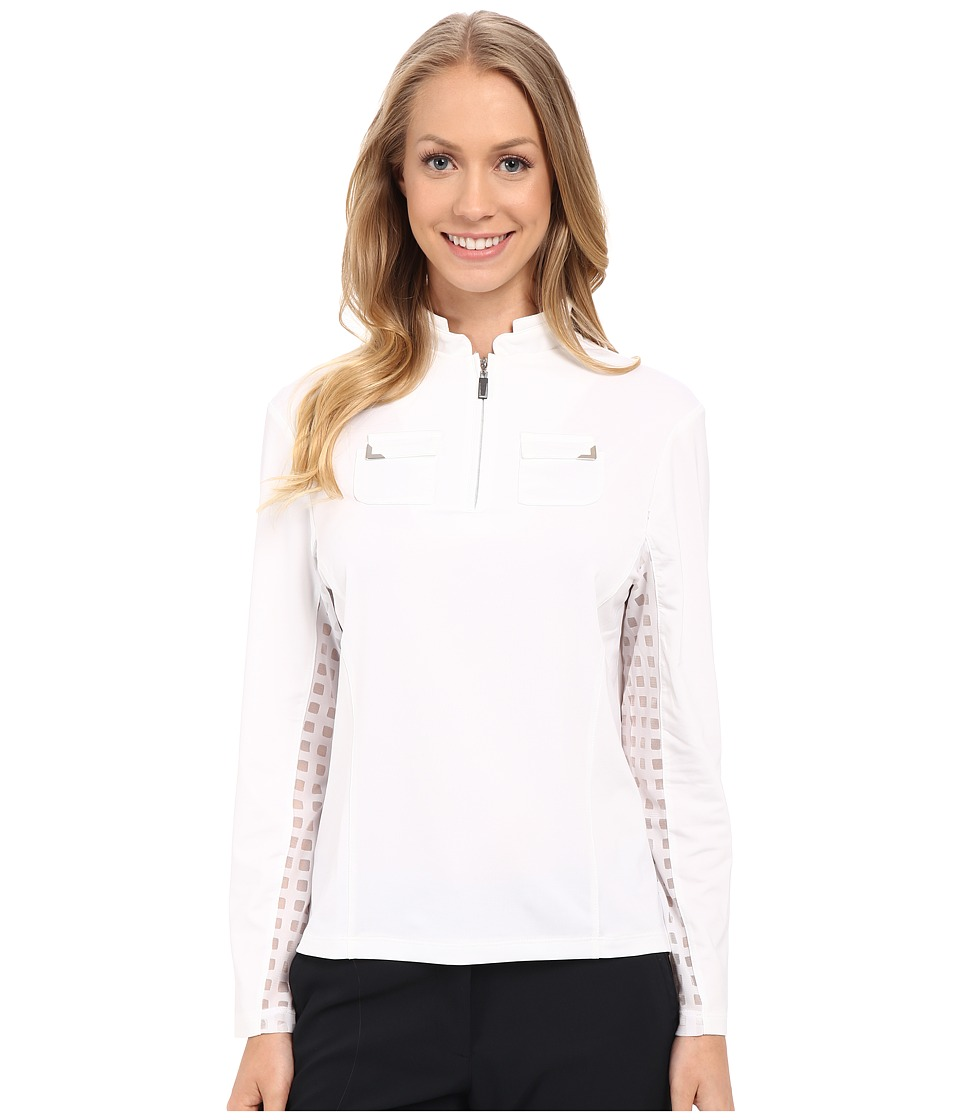 Jamie Sadock - Long Sleeve Top with Lace Mesh Panels Underarm (Sugar White) Women's Long Sleeve Pullover