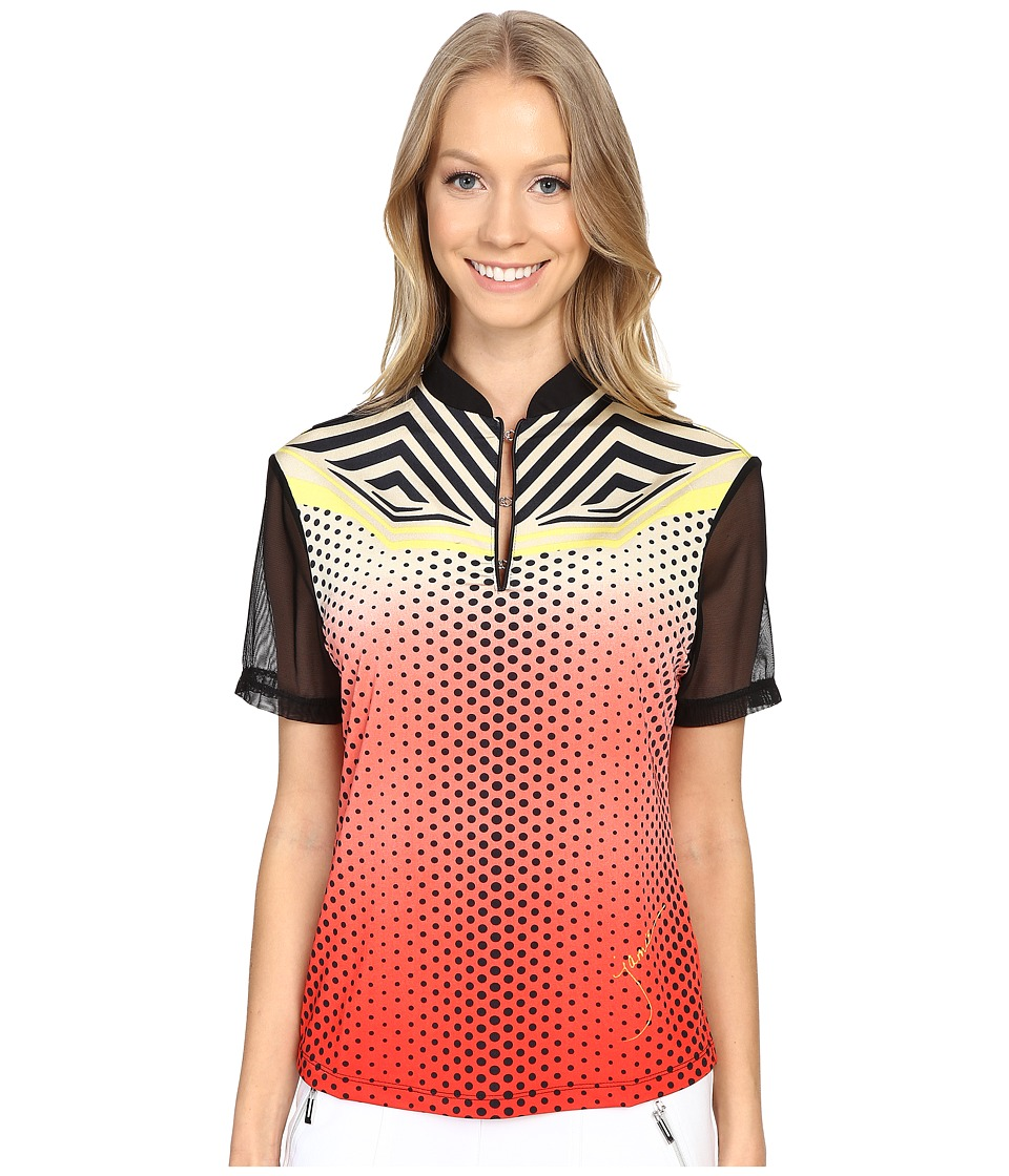 Jamie Sadock - Techno Dots Short Sleeve Top with Mesh Panel at Back Shoulders (Firework Red) Women's Clothing