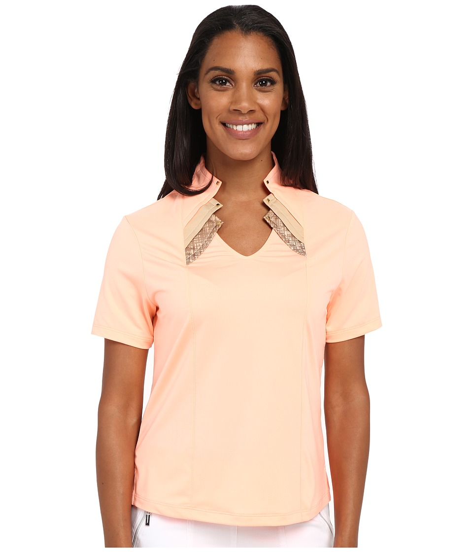 Jamie Sadock - Shirley Short Sleeve Top with Kashumi Print at Neck (Contessa) Women's Clothing
