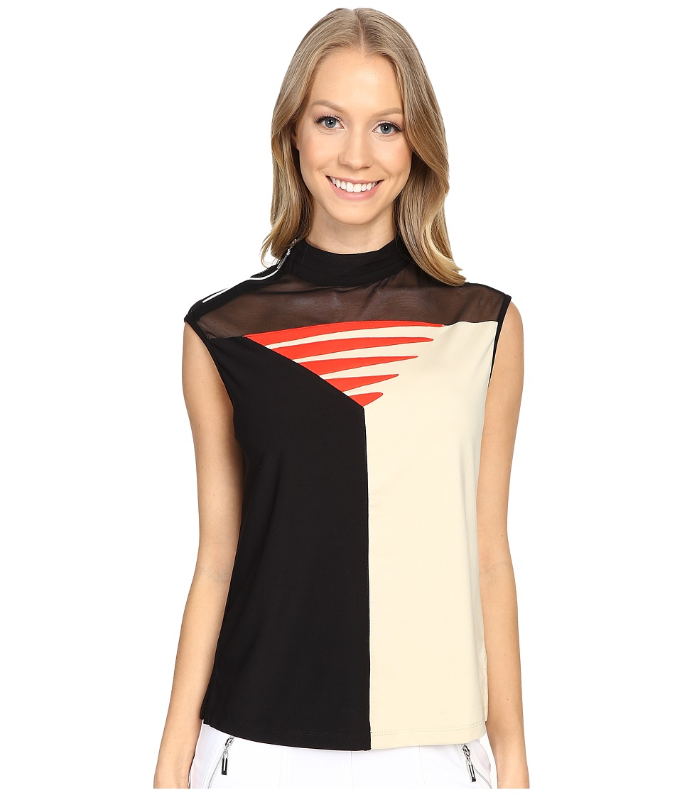 Jamie Sadock - Candy Sleeveless Top with Mesh Panel on Front Chest (Shitaki) Women's Sleeveless