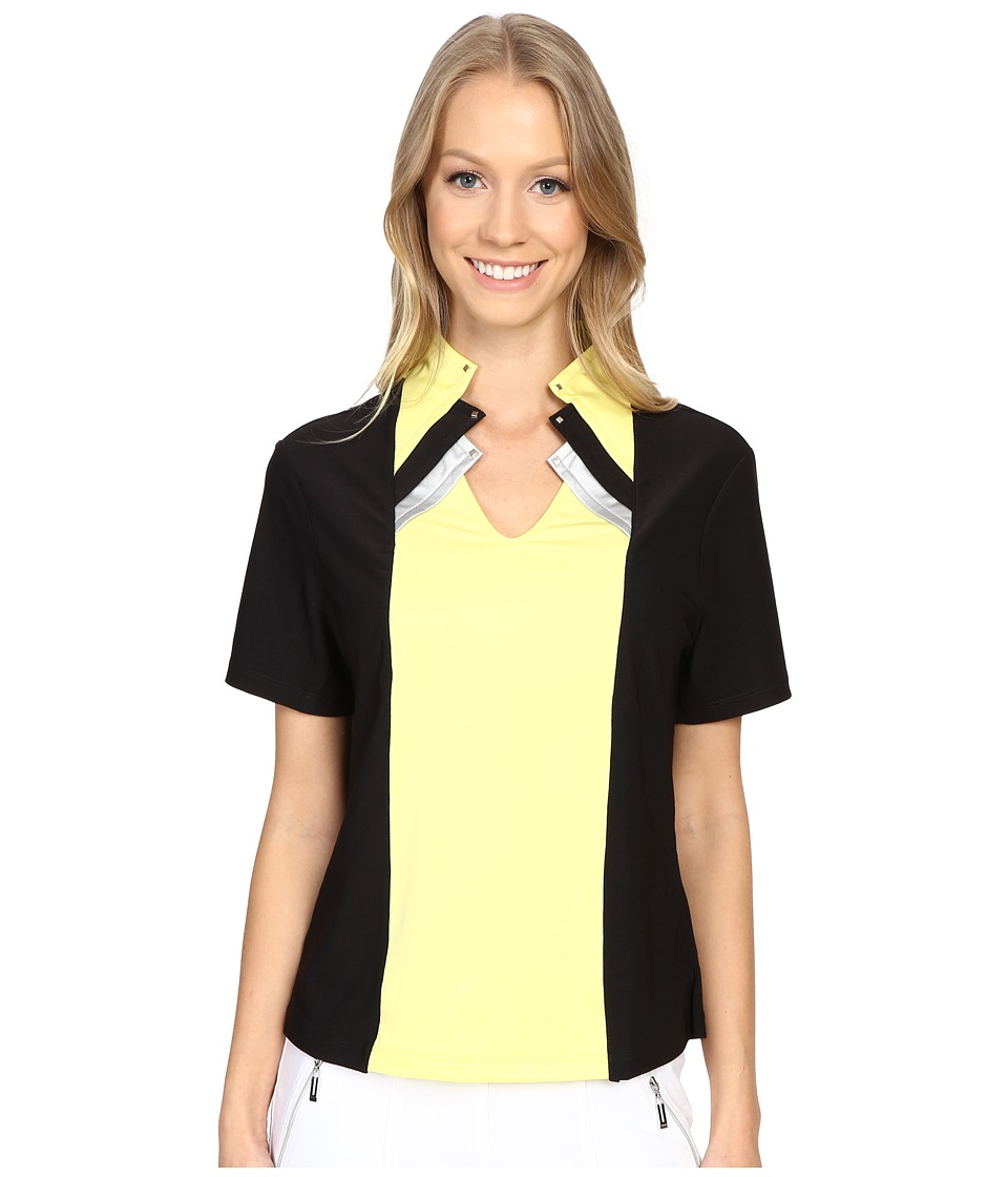 Jamie Sadock - Shirley Short Sleeve Top with Kashumi Print at Neck (Buttercup) Women's Clothing