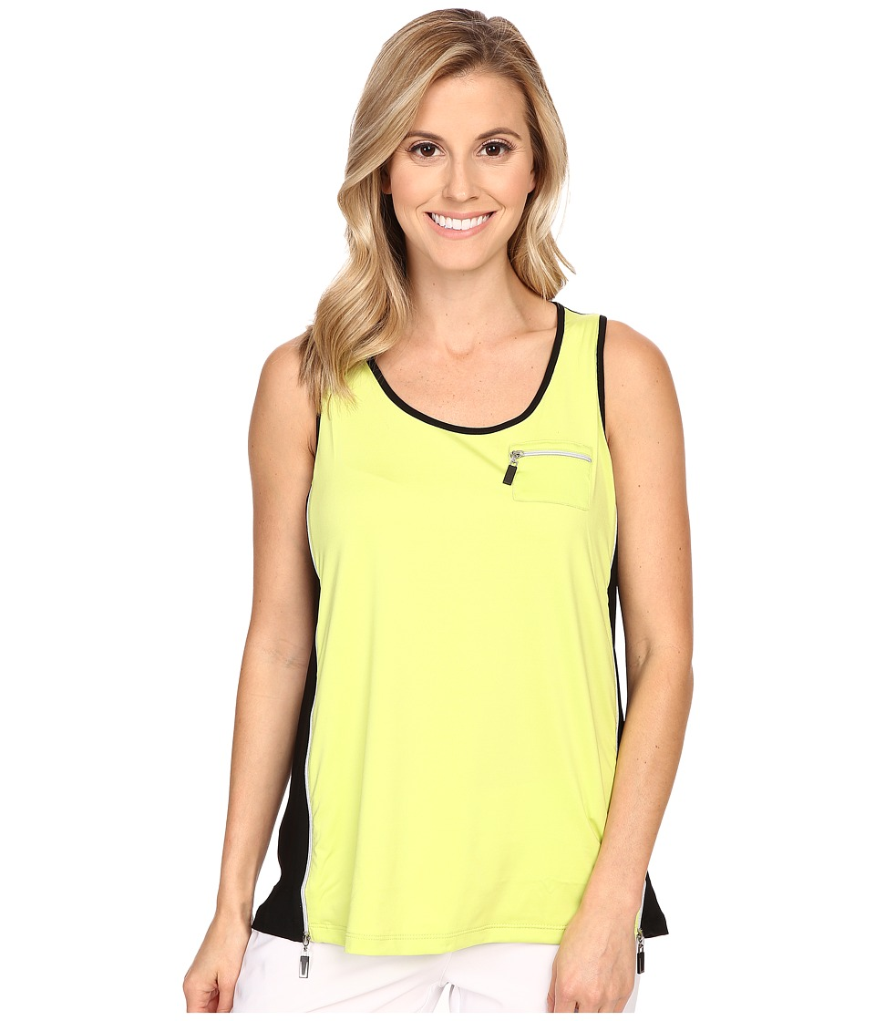 Jamie Sadock - Life Style Jasmine Sleeveless Tank Top with Back Inverted Pleat (Lime Crime) Women's Sleeveless