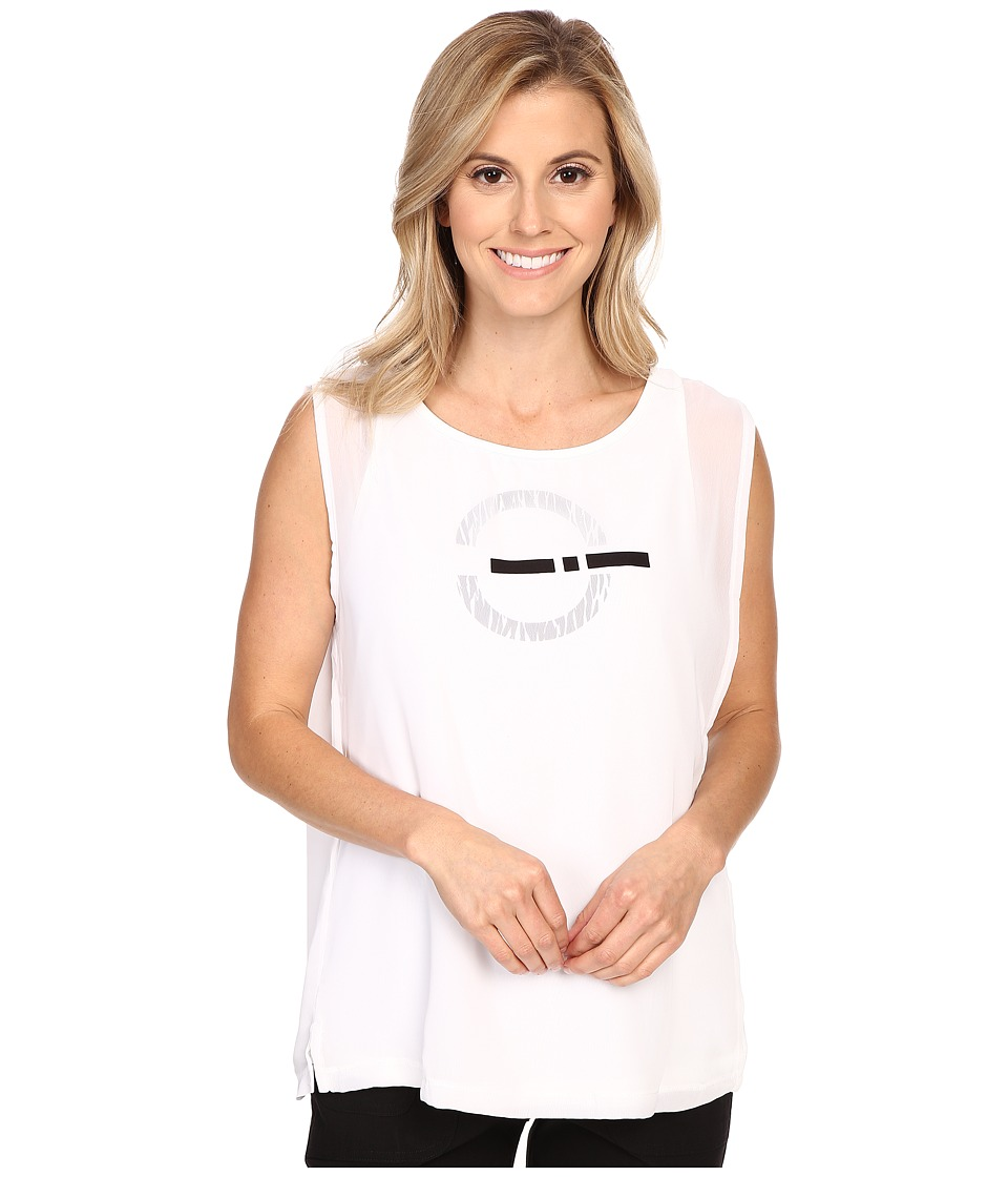 Jamie Sadock - Life Style Cassey Sleeveless Top with Mesh Overlay (Sugar White) Women's Sleeveless