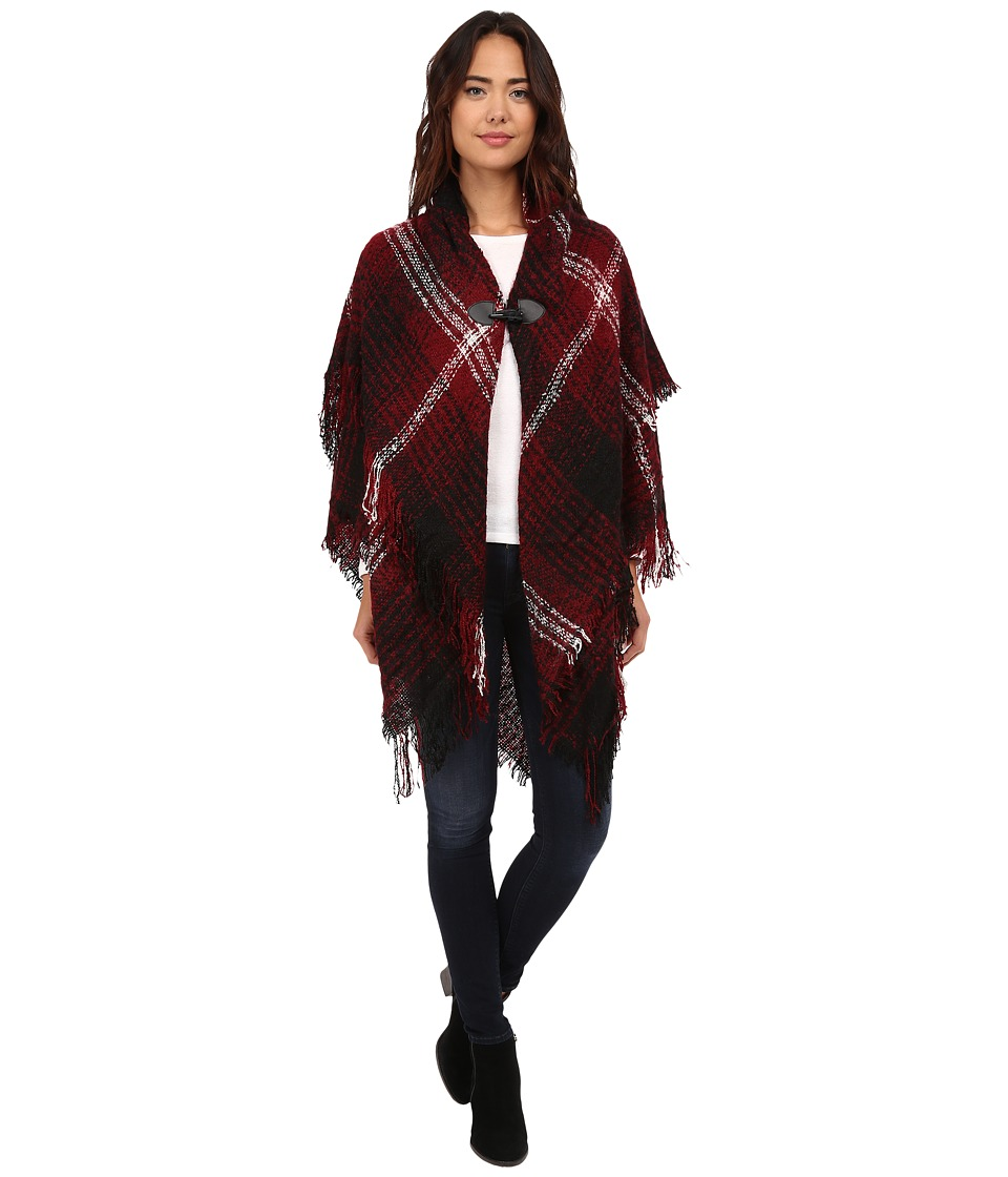 Steve Madden - Ombre Plaid Boucle Double Layer Cape with Toggle (Maroon) Women's Sweater