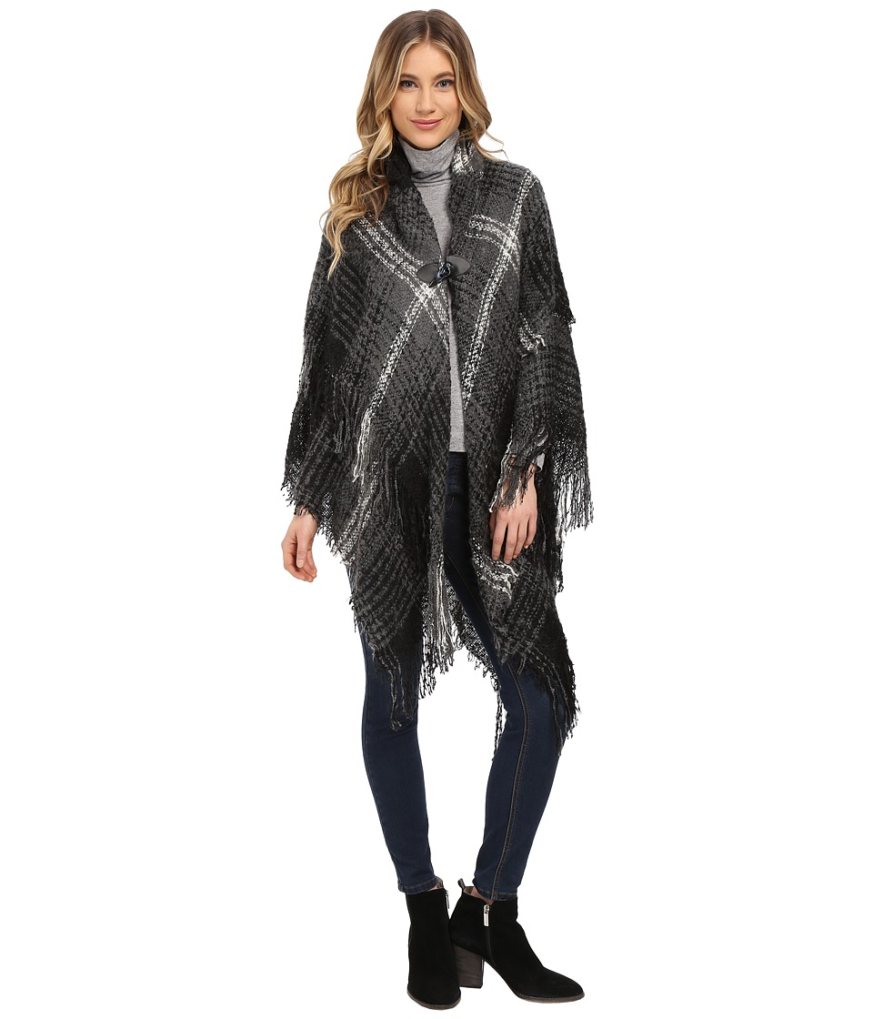 Steve Madden - Ombre Plaid Boucle Double Layer Cape with Toggle (Neutral) Women