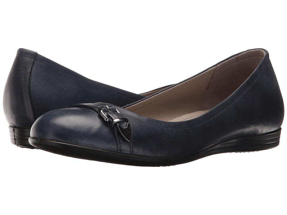 ECCO - Touch 15 Scale Ballerina (Marine) Women's Slip on Shoes