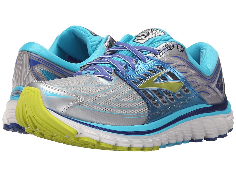 Brooks - Glycerin 14 (Silver/Blue Atoll/Lime Punch) Women's Running Shoes