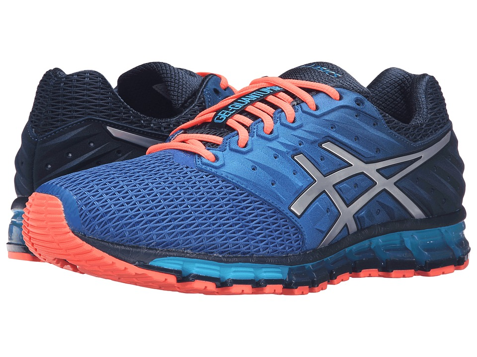 ASICS - Gel-Quantum 180 2 (Dark Navy/Silver/Flash Coral) Men's Running Shoes