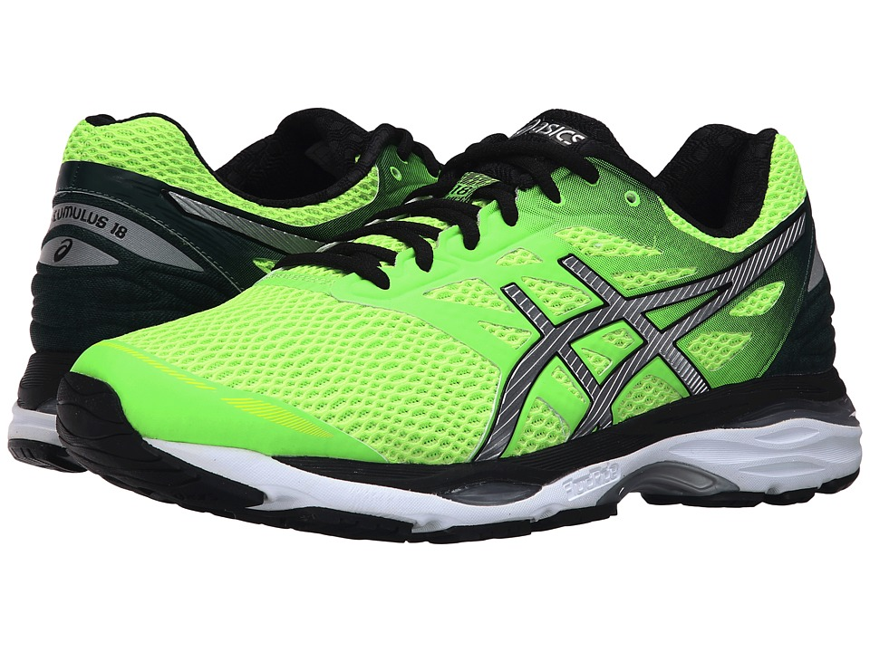 ASICS - Gel-Cumulus(r) 18 (Green Gecko/Silver/Safety Yellow) Men's Running Shoes