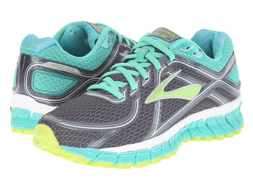 Brooks - Adrenaline GTS 16 (Anthracite/Aqua Green/Lime Punch) Women's Running Shoes