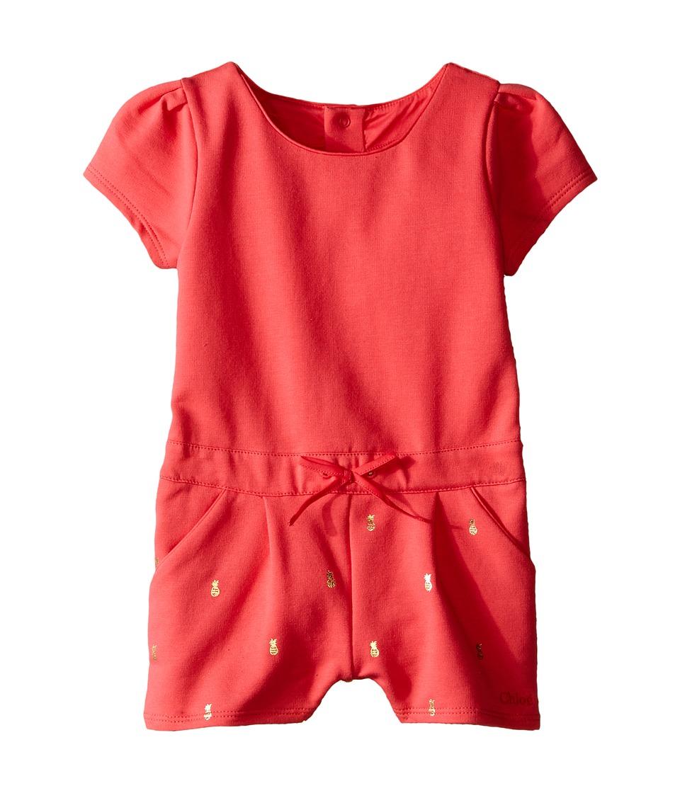 Chloe Kids - Fleece Shorts Overalls (Infant) (Fuchsia) Girl's Overalls One Piece
