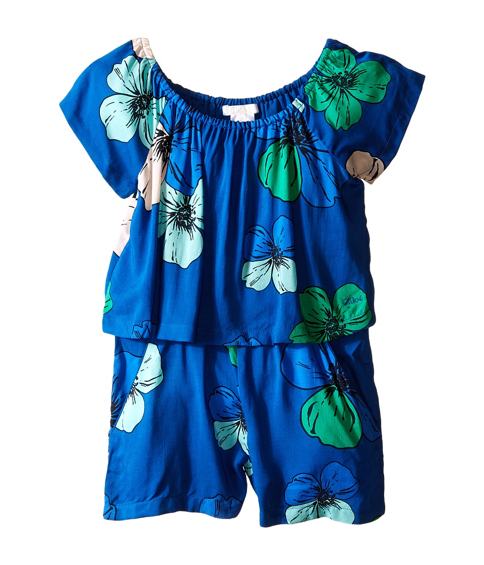 Chloe Kids - Viscose Short Overalls with Flowers Print (Toddler/Little Kids) (Floral) Girl's Overalls One Piece