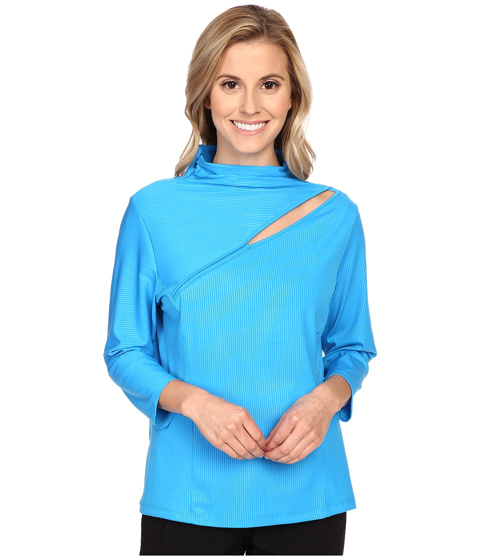 Jamie Sadock - Life Style 3/4 Sleeve with Front Asymmetrical Slit at Shoulder (Blue Bayou) Women's T Shirt