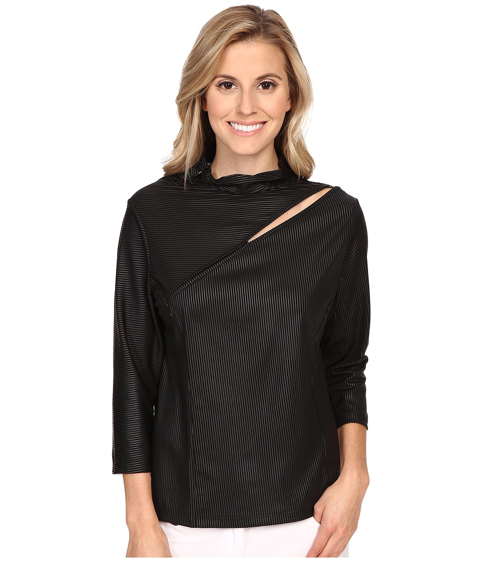 Jamie Sadock - Life Style 3/4 Sleeve with Front Asymmetrical Slit at Shoulder (Jet Black) Women's T Shirt