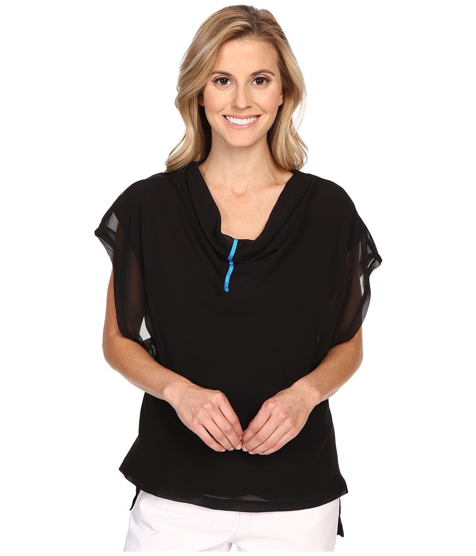 Jamie Sadock - Life Style Cap Sleeve Top with Tonal Mesh Overlay (Jet Black) Women's Blouse