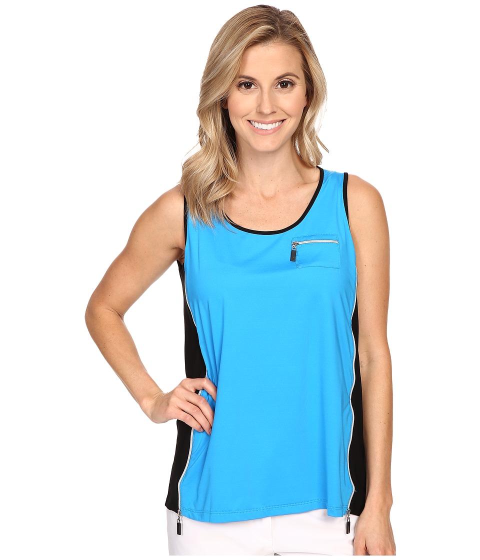 Jamie Sadock - Life Style Jasmine Sleeveless Tank Top with Back Inverted Pleat (Blue Bayou) Women's Sleeveless