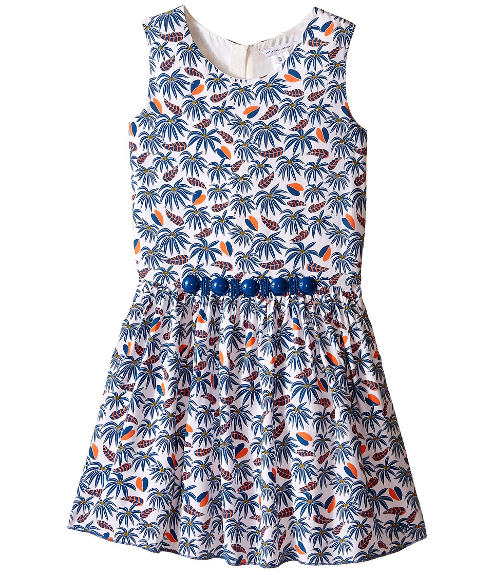 Little Marc Jacobs - Twill Viscose Lined Dress All Over Printed (Little Kids/Big Kids) (White Blue) Girl's Dress