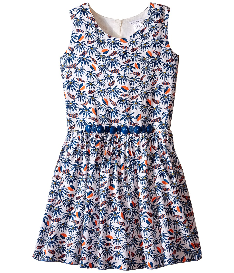 Little Marc Jacobs - Twill Viscose Lined Dress All Over Printed (Big Kids) (White Blue) Girl's Dress