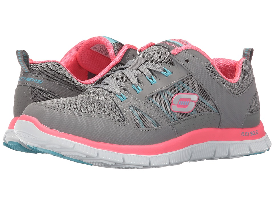 SKECHERS - Flex Appeal - Adaptable (Gray/Neon Pink) Women's Shoes