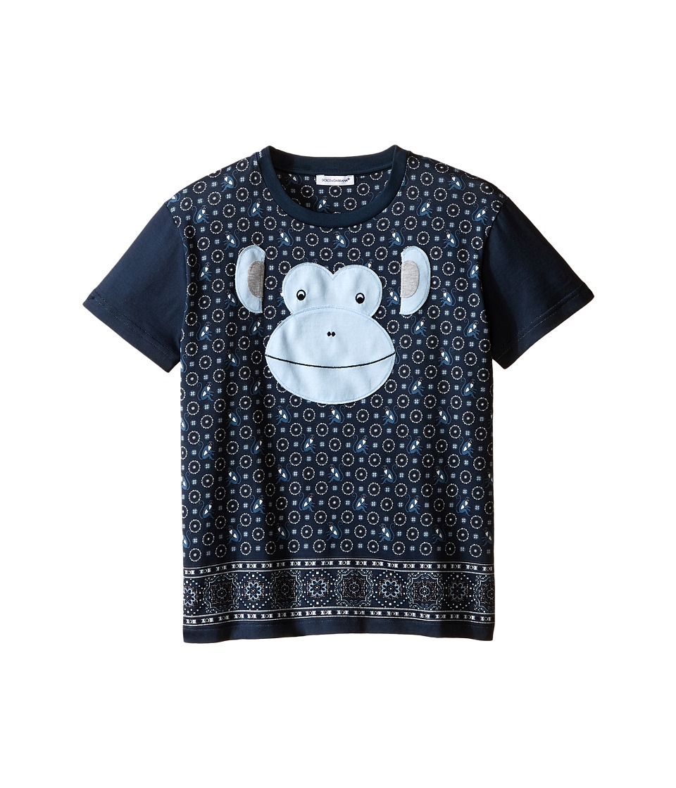 Dolce & Gabbana Kids - Monkey T-Shirt (Big Kids) (Blue/Green Print) Boy's T Shirt