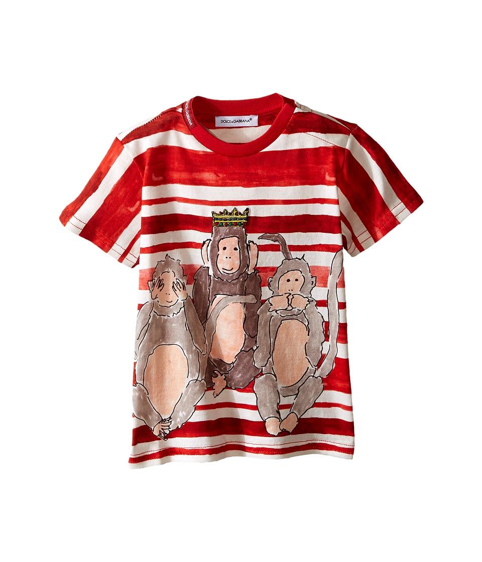Dolce & Gabbana Kids - 3 Monkeys T-Shirt (Infant) (Beet Red print) Boy's Short Sleeve Pullover