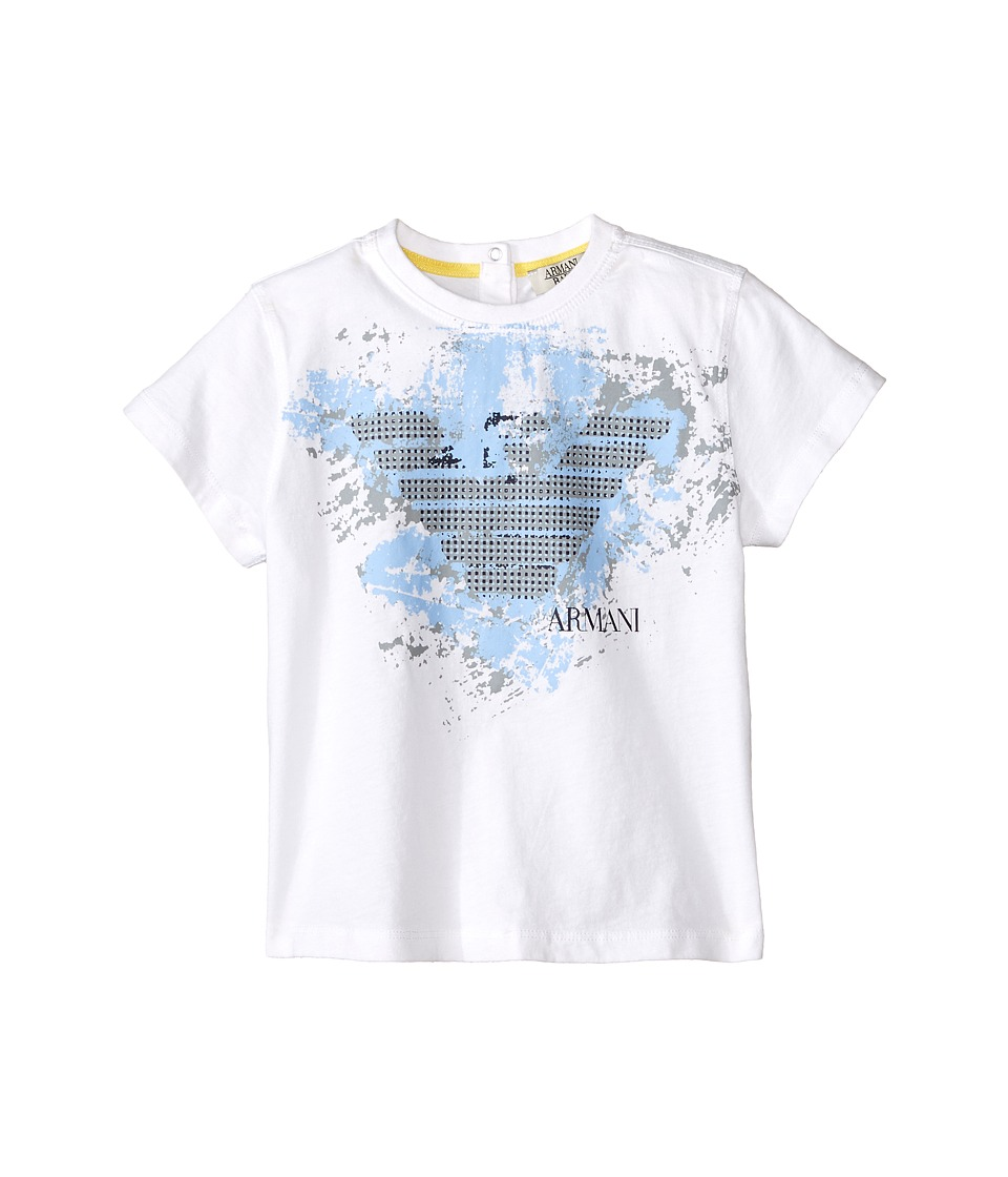 Armani Junior - Graphic Tee w/ Paint Splatter Logo (Infant) (Solid White) Boy's Short Sleeve Pullover