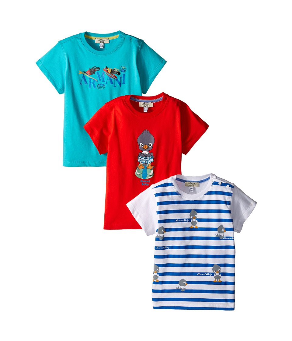 Armani Junior - Multicolor Graphic T-Shirts Set of Three (Infant) (Open Misc) Boy