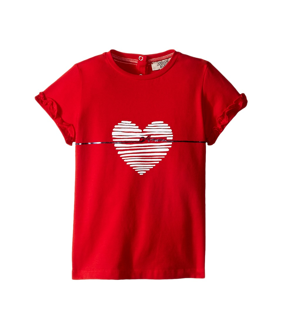 Armani Junior - Shirt with White Heart and Ruffled Sleeves (Infant) (Red) Girl's T Shirt