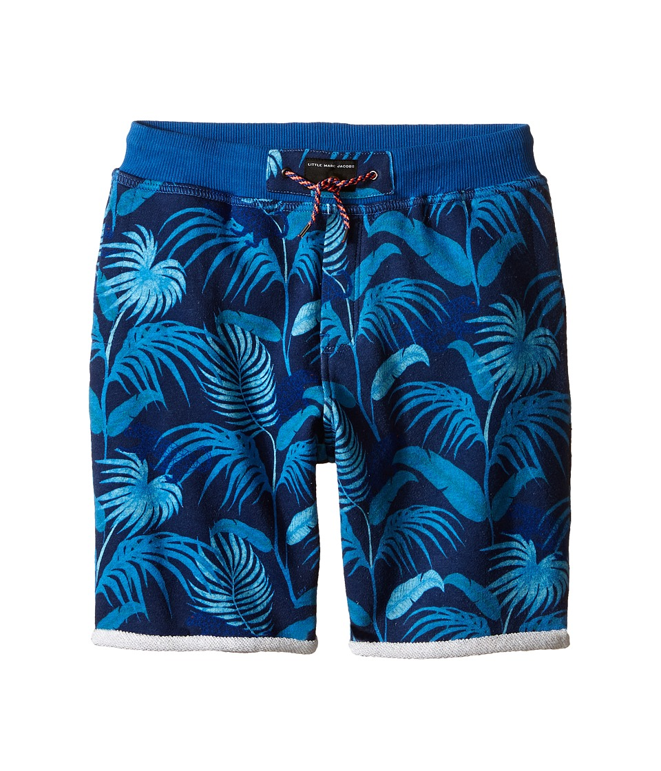 Little Marc Jacobs - Fleece Shorts Jungle Print (Little Kids/Big Kids) (Blue) Boy's Shorts