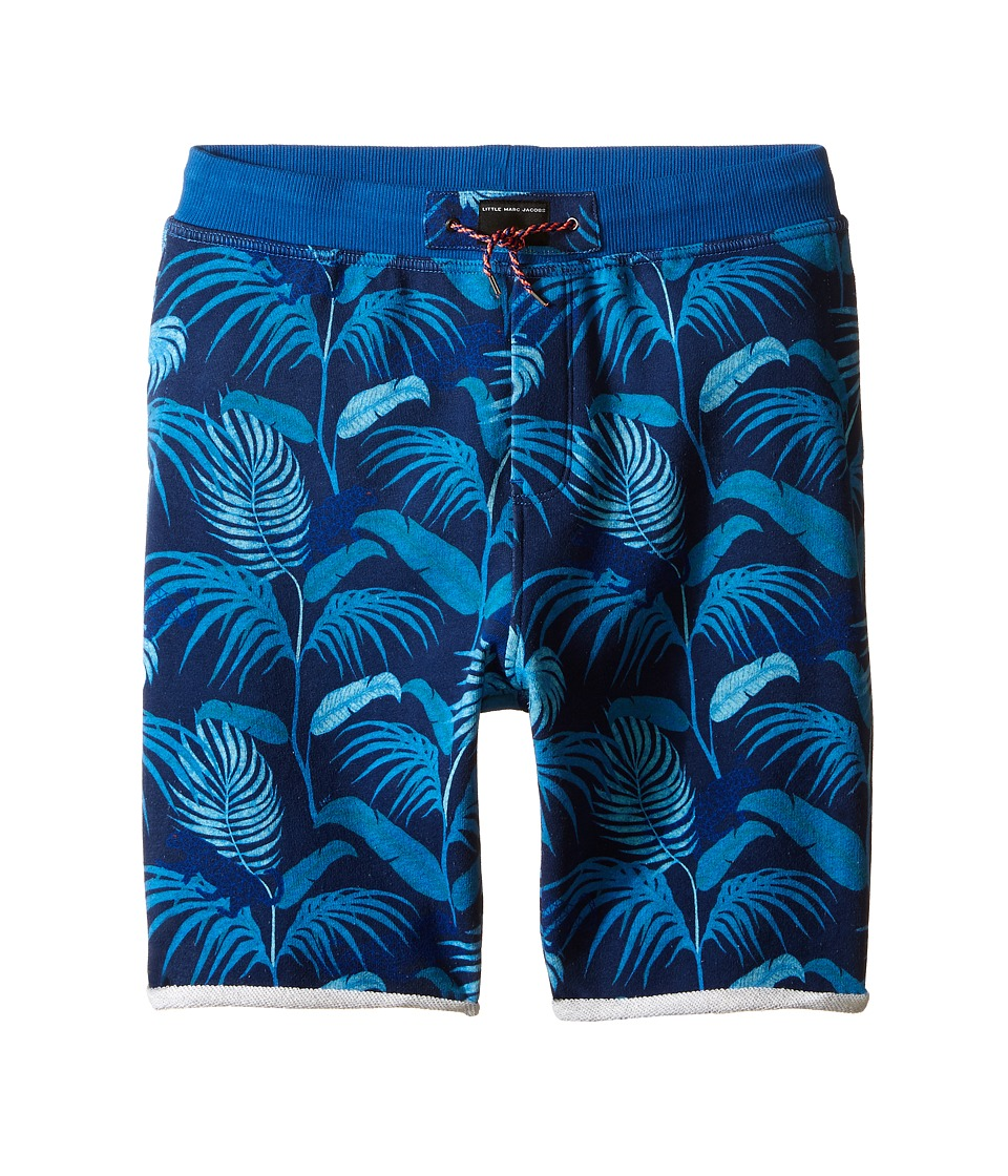 Little Marc Jacobs - Fleece Shorts Jungle Print (Big Kids) (Blue) Boy's Shorts