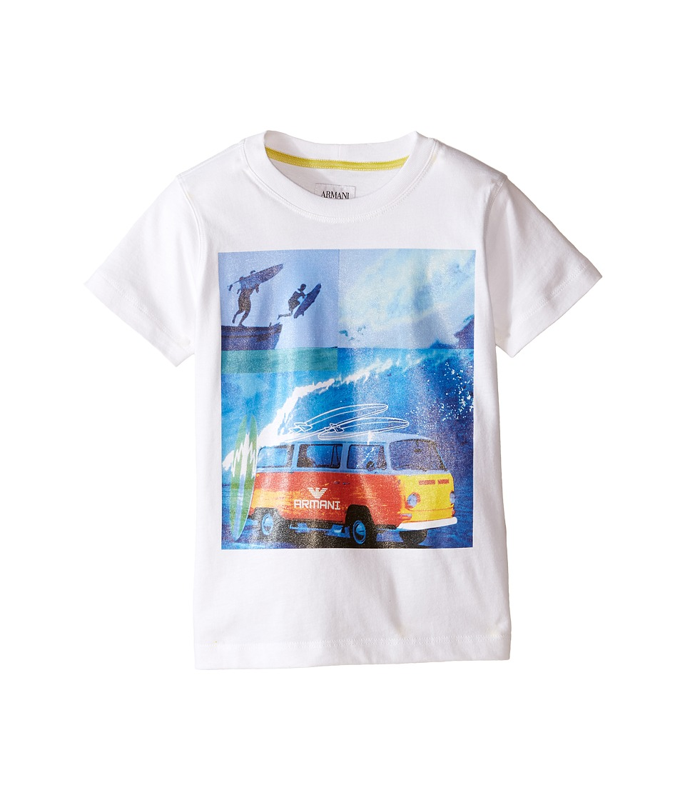 Armani Junior - Graphic T-Shirt with Van (Toddler/Little Kids/Big Kids) (White Wash) Boy's T Shirt